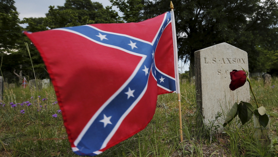 A Confederate battle flag flies at the grave of a Confederate Civil War soldier in South Carolina
