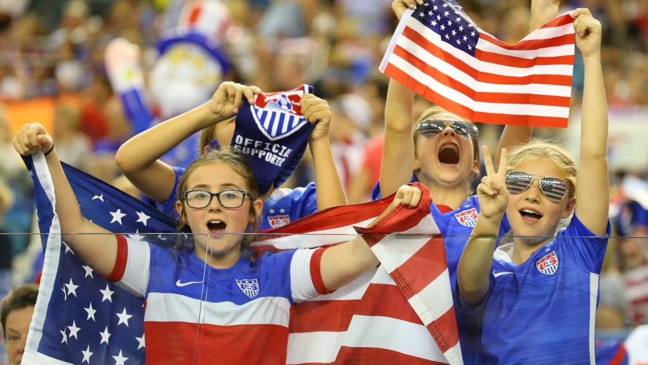 USA fans cheer at the women's World Cup
