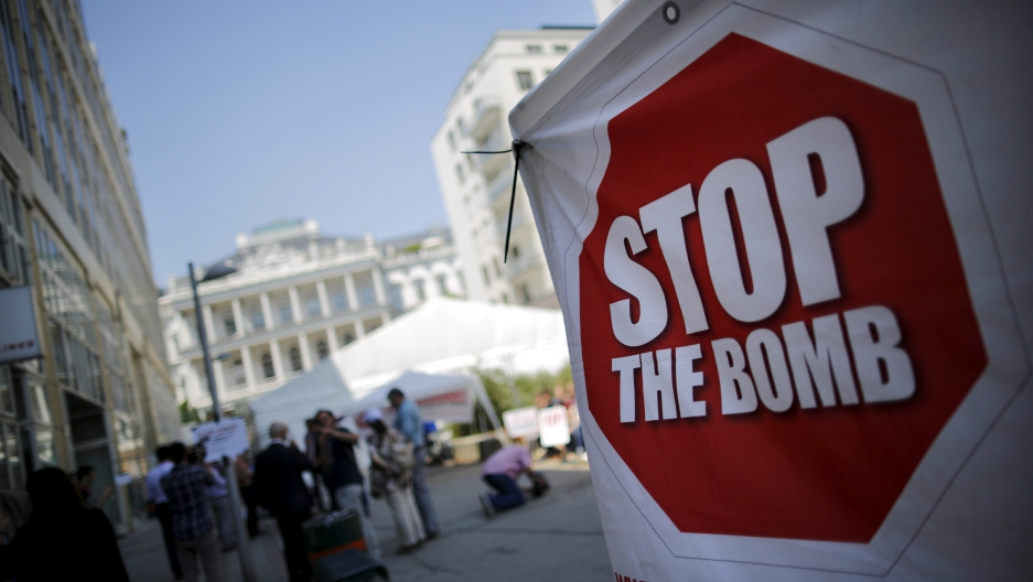 A 'Ban the Bomb' sign earlier this month outside nuclear talks in Vienna.