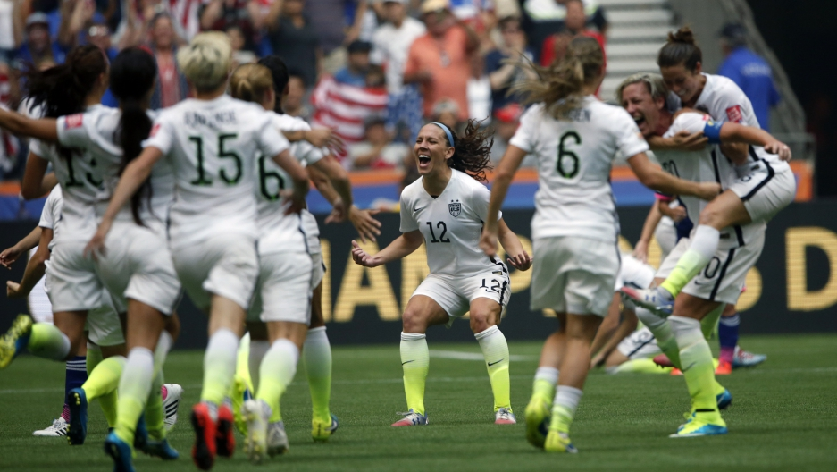 The US women's national team celebrates after winning the World Cup