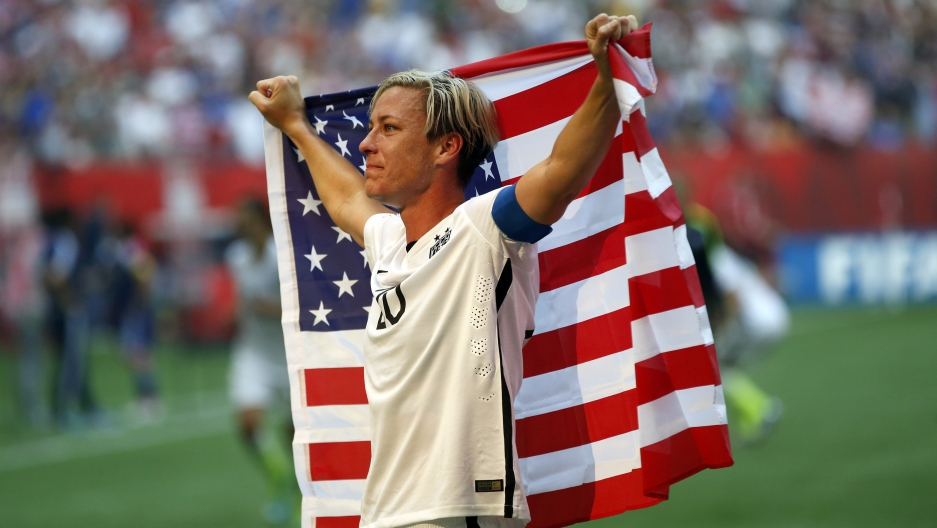 United States forward Abby Wambach (20) celebrates after defeating Japan in the final of the FIFA 2015 Women's World Cup at BC Place Stadium.