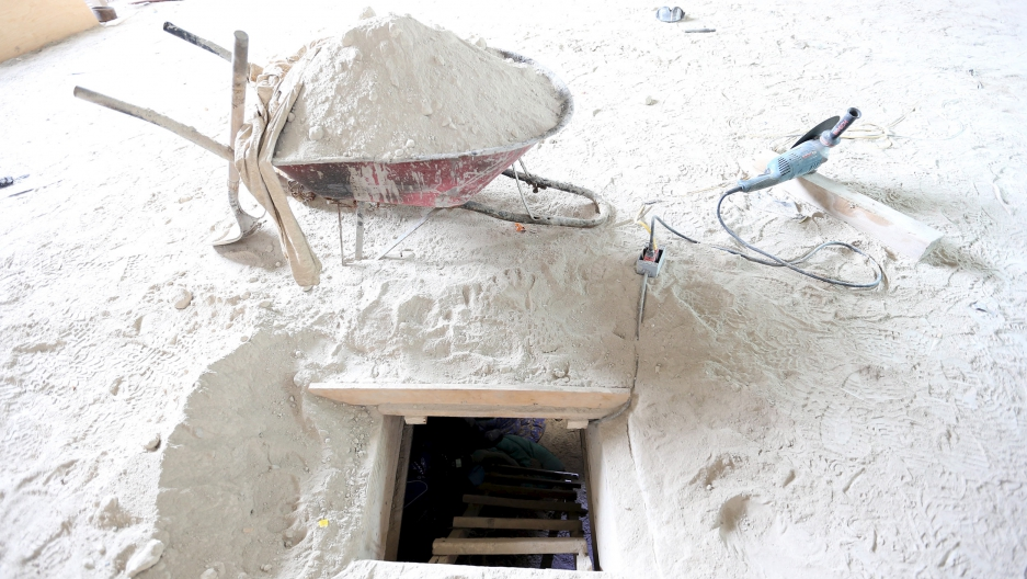 The entrance of a tunnel connected to the Altiplano Federal Penitentiary and used by drug lord Joaquin 'El Chapo' Guzman to escape, is seen in Almoloya de Juarez, on the outskirts of Mexico City, July 12, 2015.