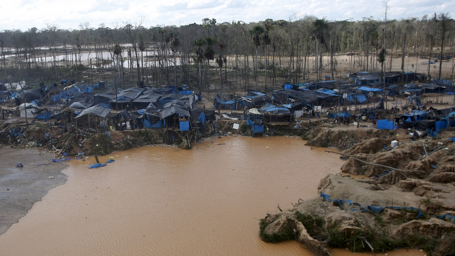 Illegal gold mine camp in Peru