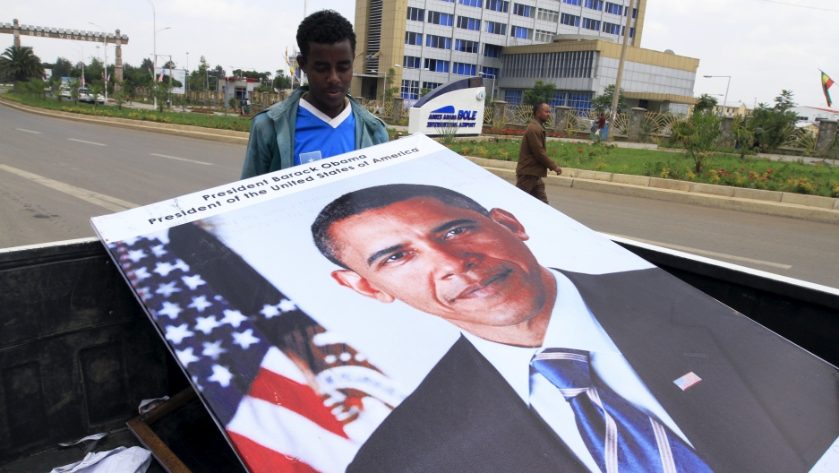 Ethiopians prepared billboards to welcome U.S. President Barack Obama to their capital Addis Ababa.