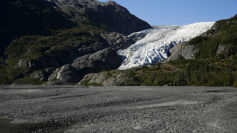 A general view of the Exit Glacier is seen at Kenai Fjords National Park in Seward, Alaska, September 1, 2015.
