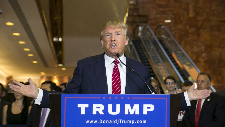 U.S. presidential hopeful Donald Trump speaks during a press availability at Trump Tower in New York City on September 3, 2015.