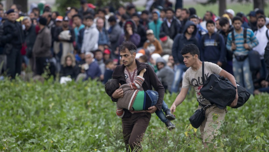 In this photo, migrant families had just crossed the border from Serbia to Croatia, on Sept. 24, 2015.