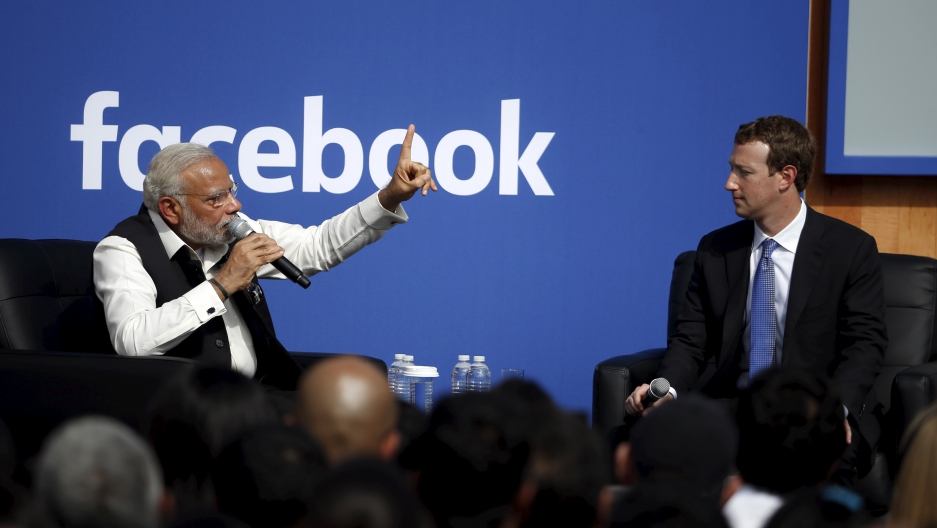 Mark Zuckerberg speaks with Indian PM Narendra Modi