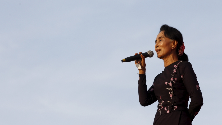 Aung San Suu Kyi speaking at a campaign rally in Yangon