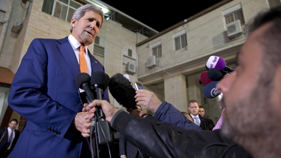U.S. Secretary of State John Kerry makes impromptu remarks to members of the media after meeting with Palestinian President Mahmoud Abbas.