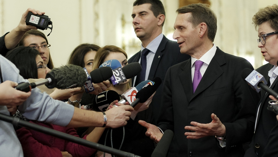 Russian State Duma lower house of parliament speaker Sergei Naryshkin speaks to the media in November, 2015