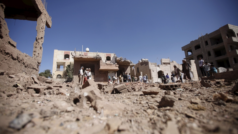 Damage from a Saudi-led air strike in Yemen's capital Sanaa. Saudi Arabia is 'bogged down' in Yemen, but is now setting up an alliance to fight terrorism across northern Africa and south-west Asia.