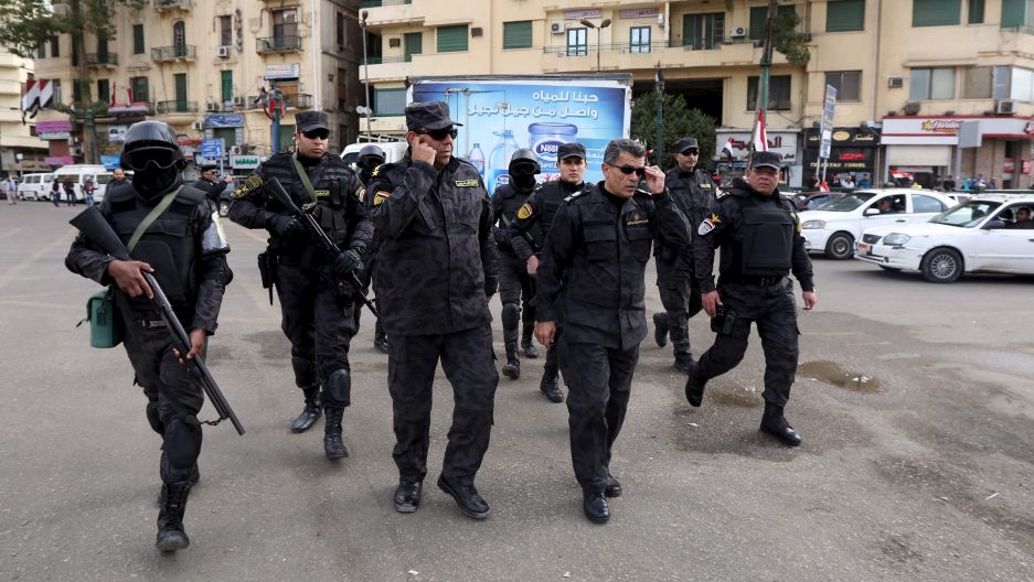 Egyptian police made a show of force in Cairo's iconic Tahrir Square on January 25, 2016, as small pro-government demonstrations took place on the fifth anniversary of the uprising that toppled former dictator, Hosni Mubarak.
