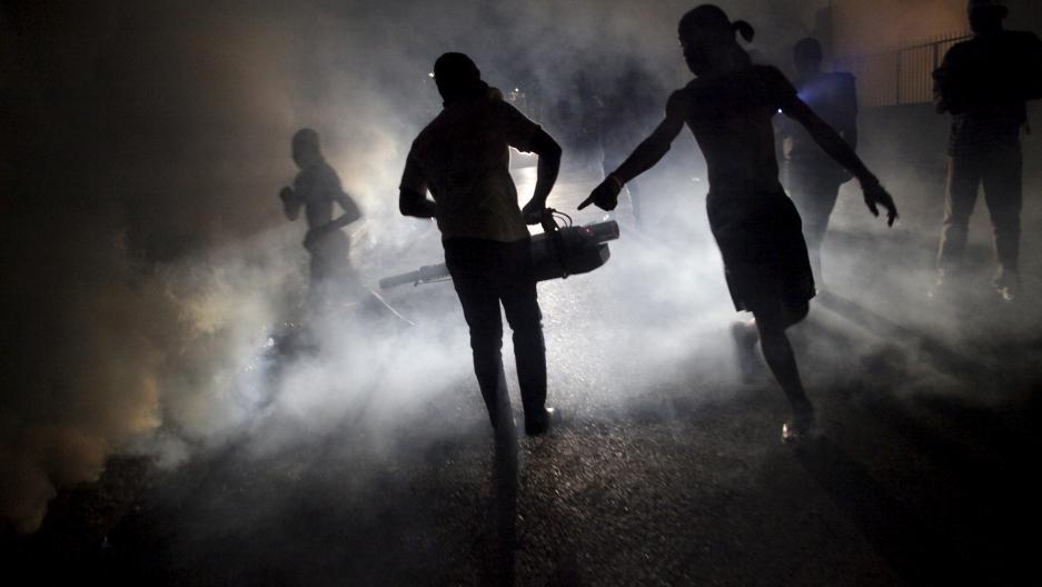 Fumigating against dengue, Zika