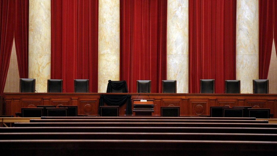 The bench of late Supreme Court Justice Antonin Scalia draped in black after his death.