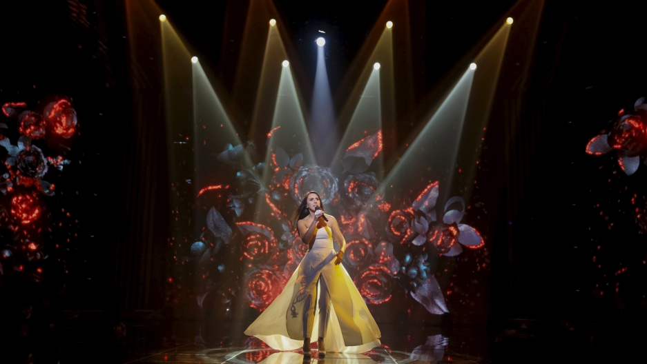 Crimean Tatar singer Susana Jamaladinova, known as Jamala, performs during the Ukrainian national qualification for the Eurovision Song Contest outside Kiev, Ukraine, February 21, 2016.