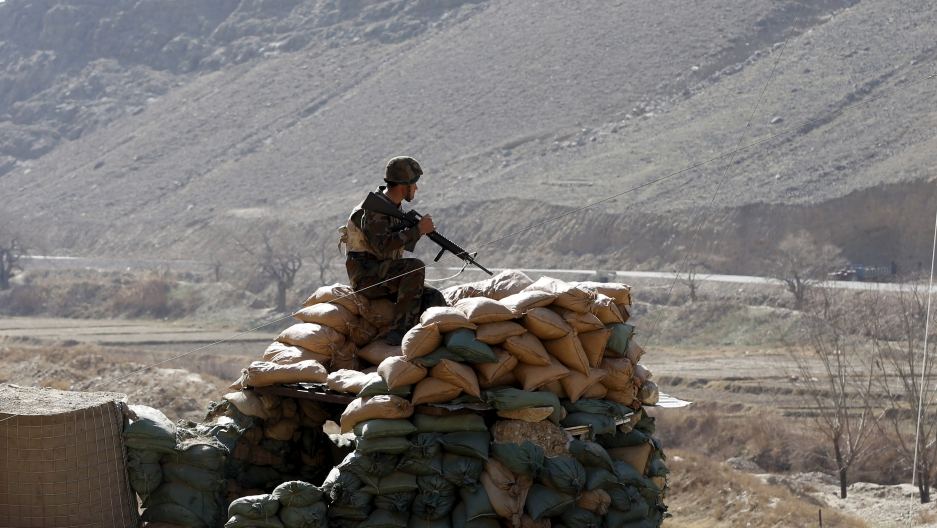 An Afghan National Army soldier keeping watch at a post in Logar province, Afghanistan, earlier this year.