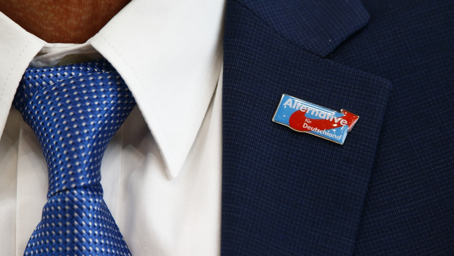 A badge of AfD is seen on the jacket of Uwe Junge, candidate of the anti-immigration party Alternative for Germany in Rhineland-Palatinate at a news conference in Berlin, Germany, March 14, 2016.