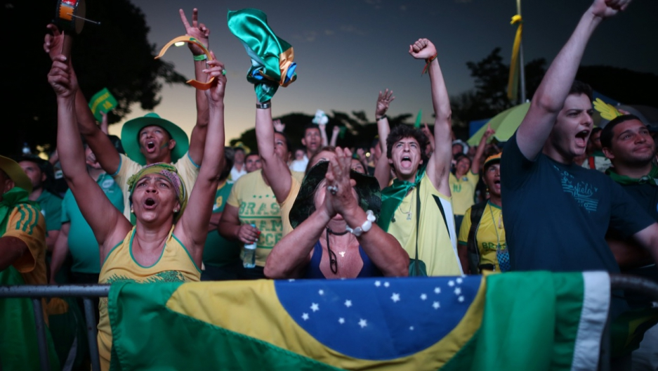Brazilians in favor of impeaching President Dilma Rousseff cheered with each vote in favor in the lower house of Congress in Brazil on April 17.