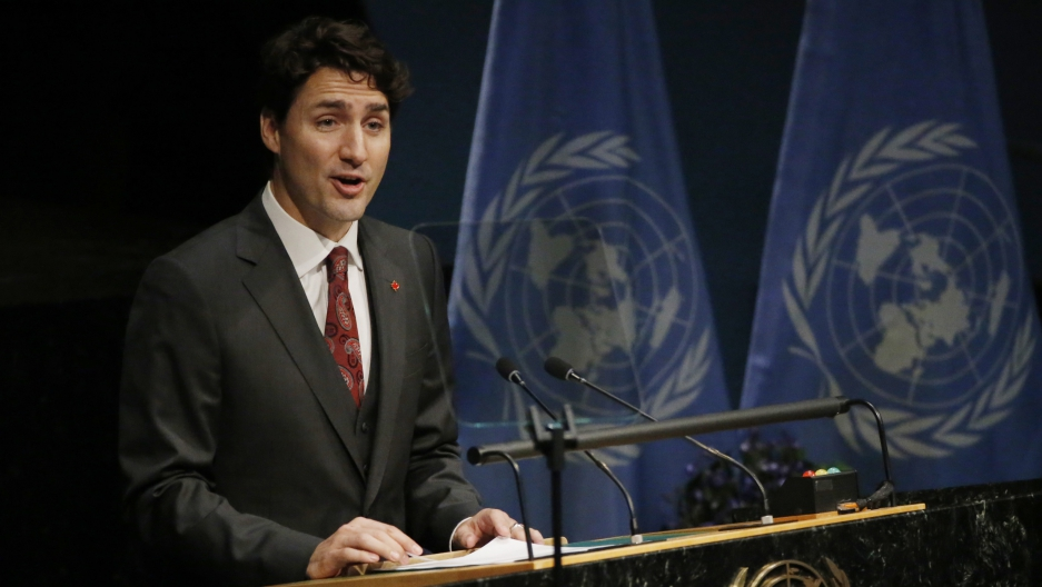 Canadian Prime Minister Justin Trudeau speaking at the signing ceremony on climate change at the UN in 2016. Trudeau has committed Canada to steep reductions in carbon pollution, while also pushing to expand tar sands oil production.