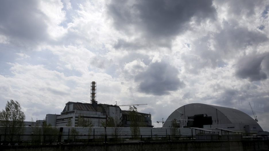 A view of the damaged reactor at Chernobyl, April 2016