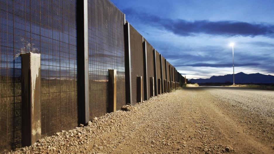 The US-Mexico border fence near Naco, Arizona.