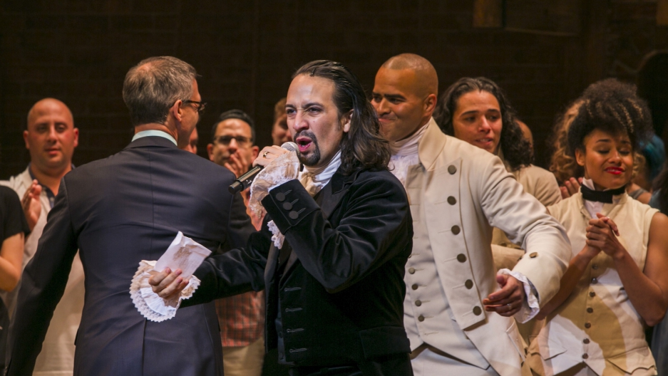 "Lin-Manuel Miranda in ""Hamilton"" on opening night on Broadway in New York, Aug. 6, 2015."