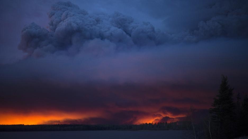 Wildfire over Alberta, Canada