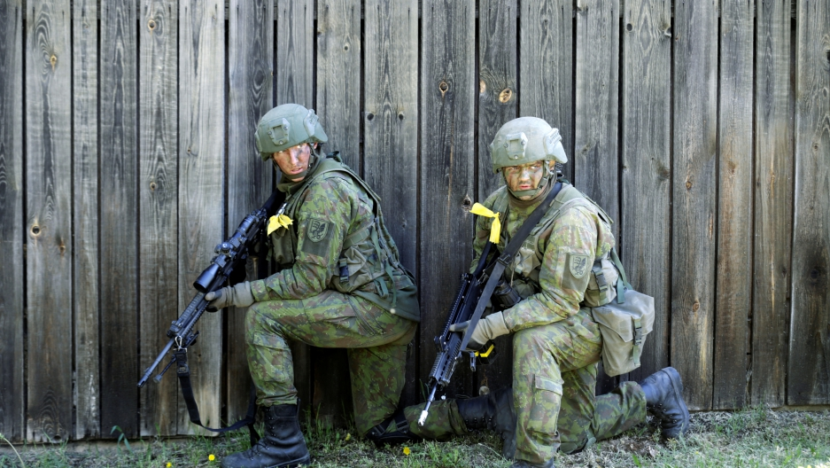 Lithuanian soldiers during military exercises in Rapina, Estonia.