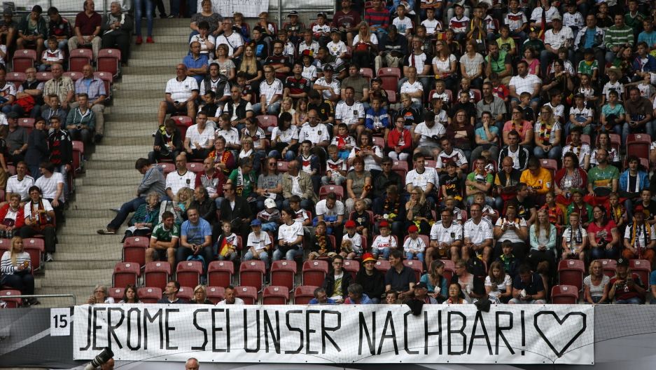A banner reading 'Jerome, be our neighbour!' supporting Germany's Jerome Boateng is pictured before the match.