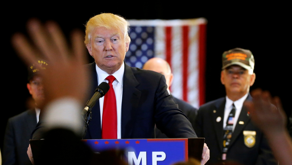 Donald Trump addresses the media regarding donations to veterans foundations at Trump Tower in Manhattan, May 31, 2016