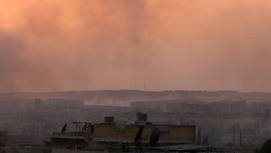 Smoke rises after airstrikes on Aleppo's Castello Road on June 2.