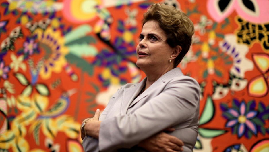 Suspended President Dilma Rousseff at a news conference with foreign media in Brasilia, Brazil, on June 14.