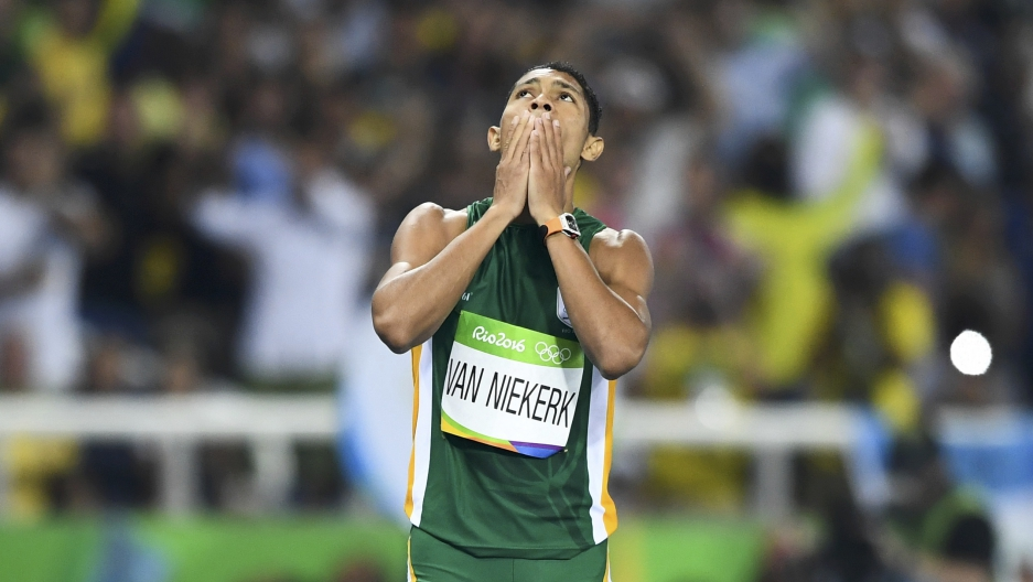 Wayde van Niekerk (RSA) of South Africa reacts after winning the final.