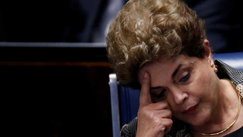 Dilma Rousseff at one of the final days of her impeachment trial debate before senators voted her out of office.