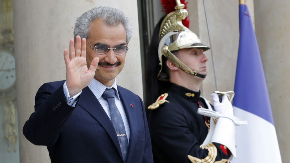 Saudi Arabian Prince Al-Waleed bin Talal arrives at the Elysee palace in Paris, France