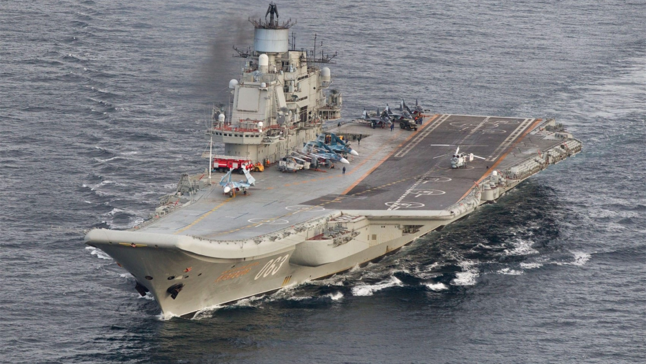 A photo taken from a Norwegian surveillance aircraft shows the Russian aircraft carrier, Admiral Kuznetsov, in international waters off the coast of northern Norway on October 17th 2016 en route to the Mediterranean.