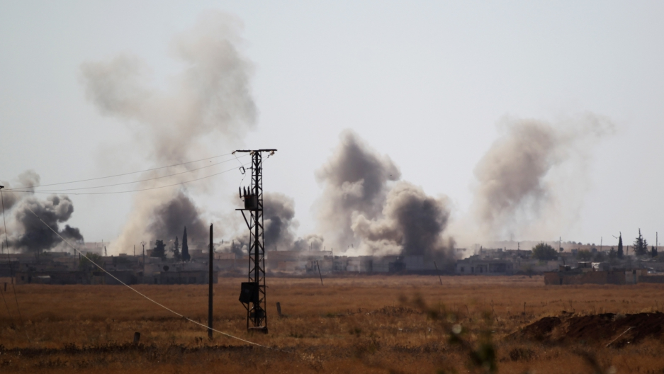 Smoke rises after strikes on Syria Democratic Forces in northern Aleppo