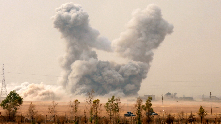 Smoke rises after a US airstrike near Mosul, October 24th 2016