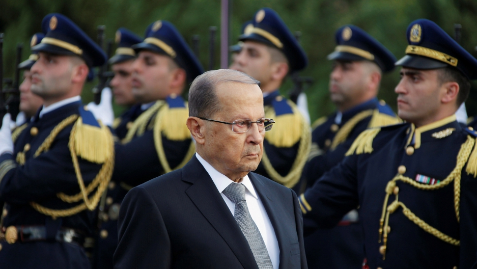 Newly elected Lebanese President Michel Aoun arrives at the presidential palace in Baabda, near Beirut, Lebanon on Oct. 31.
