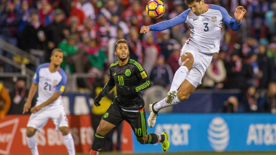 USA defender Omar Gonzalez (3) heads the ball over Mexico forward Giovani dos Santos (10) during a 2016 match at MAPFRE Stadium. Mexico beat the USA 2-1.