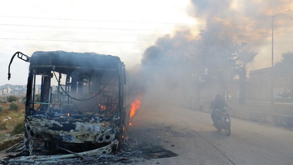 Syria Aleppo bus burning