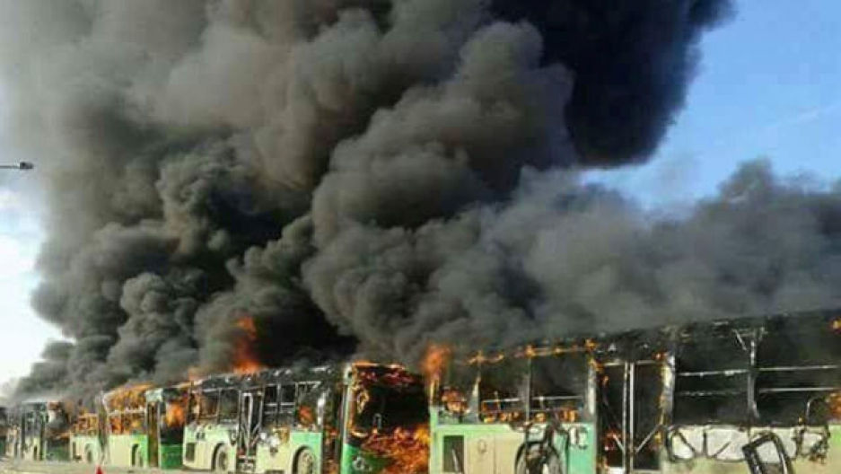 Syria buses attacked and burned