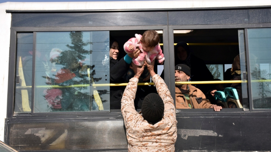 Another heartbreaking evacuation in Syria, Monday. But these are Shi'ite civilians fleeing rebel shelling, according to the Syrian government news agency, SANA