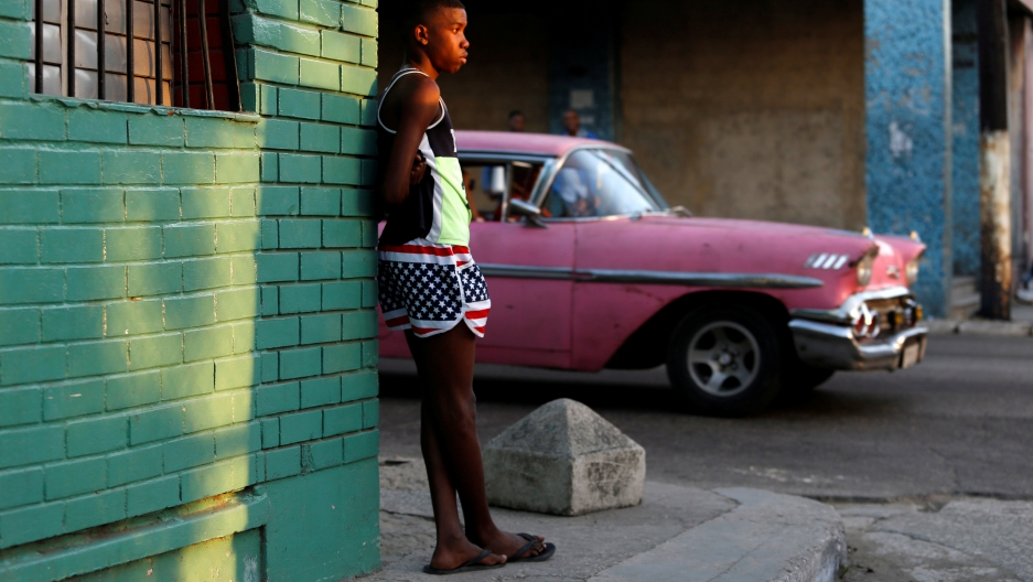 A boy wears the U.S. colors in Havana, Cuba, January 12, 2017.