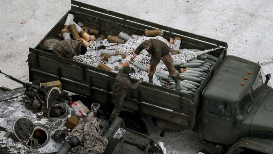 Crew members prepare tanks in the government-held industrial town of Avdiivka, Ukraine, on Feb. 2.