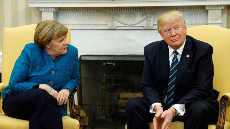 US President Donald Trump meets with Germany's Chancellor Angela Merkel in the Oval Office at the White House in Washington on March 17.