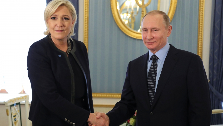 Russian President Vladimir Putin meets with Marine Le Pen, the far right French presidential candidate during a meeting in Moscow, on March 24th 2017.