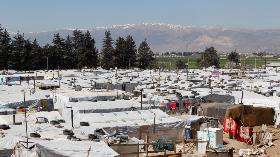 A general view shows tents for Syrian refugees at a makeshift settlement in Bar Elias, a town in the Bekaa valley, Lebanon, on March 28, 2017.