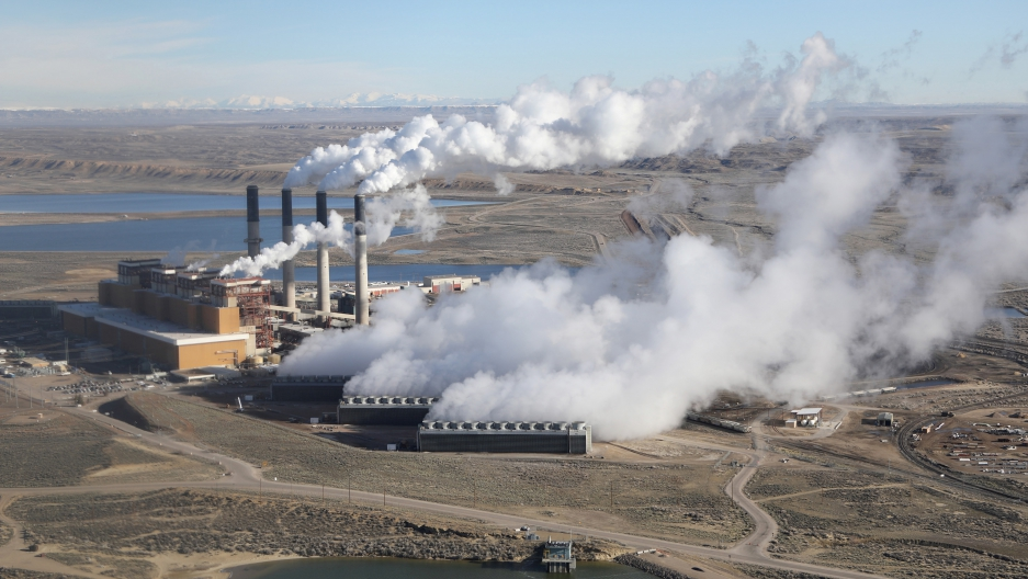 Coal-fired power plants like this one in Wyoming are among the largest sources of climate-altering pollution in the US, and had been targets of Obama administration rules to significantly cut US emissions under the Paris Climate agreement. President Trump